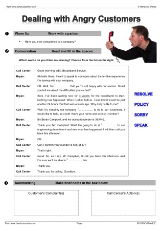 EFL ESL telephone English worksheets, activities and lesson plans