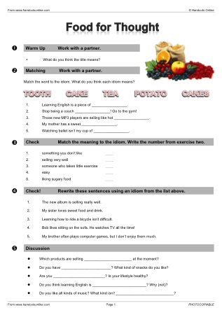 Worksheets Worksheet Idioms Food esl vocabulary worksheets from handouts online continued