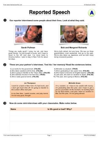 esl reported speech worksheet pdf