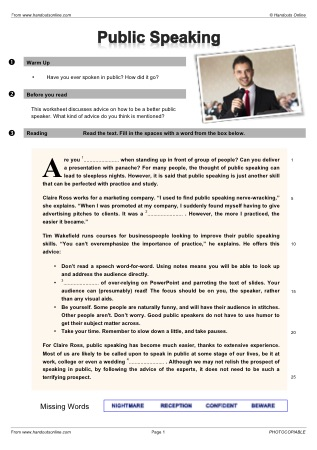 Printables Public Speaking Worksheets efl esl reading worksheets and activities from handouts online title public speaking