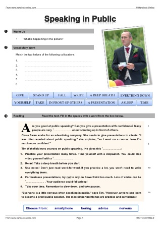 Worksheets Public Speaking Worksheets efl esl reading worksheets and activities from handouts online title speaking in public