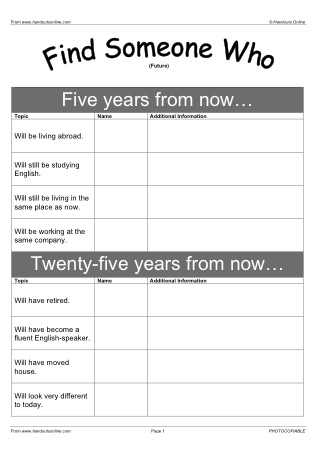 Future Tense English Worksheets, activities and lesson plans from ...