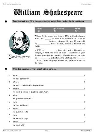 shakespeare worksheets worksheets releaseboard free printable worksheets and activities. Black Bedroom Furniture Sets. Home Design Ideas