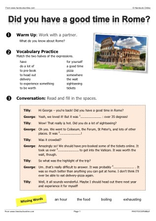 Present Perfect Conversation Questions >> Travel English EFL ESL Worksheets, activities and lesson plans