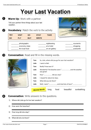 Free EFL ESL Worksheets, activities and lesson plans from Handouts ...