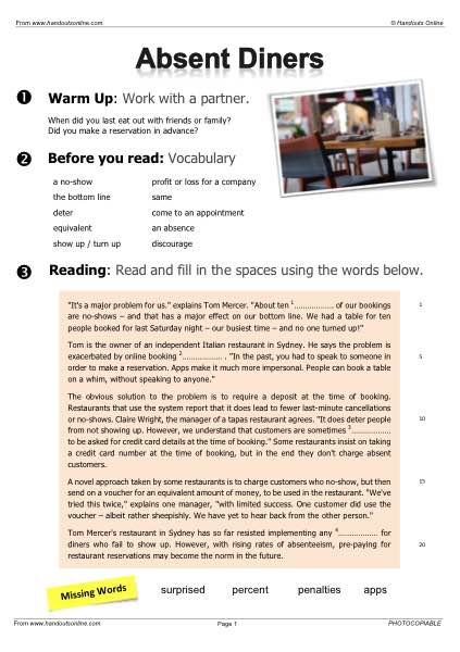 EFL   TEFL   ESL worksheets, handouts, lesson plans and