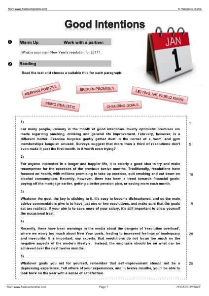 EFL | TEFL | ESL worksheets, handouts, lesson plans and