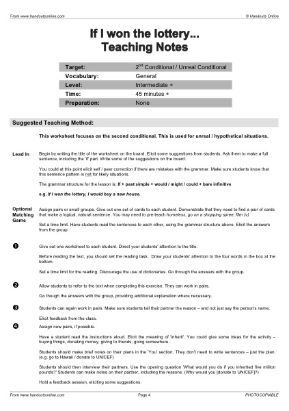 EFL | TEFL | ESL worksheets, handouts, lesson plans and