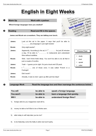 Future Tense English Worksheets Activities And Lesson Plans From