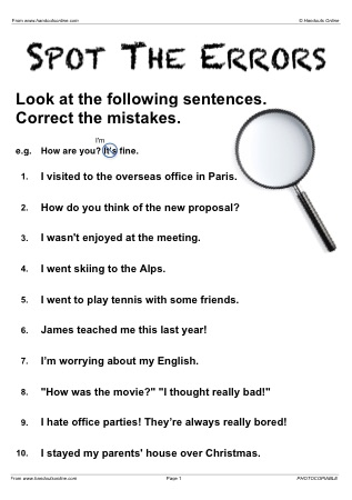 Printables Grammar Correction Worksheets grammar correction worksheets abitlikethis efl esl past simple continuous english activities and