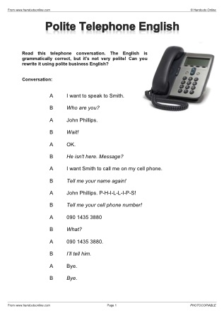 EFL ESL telephone English worksheets, activities and lesson