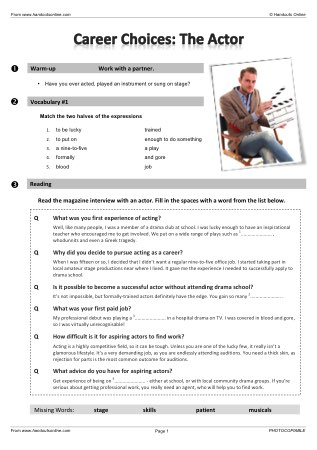 Advanced Level ESL EFL Worksheets, activities and lesson plans for