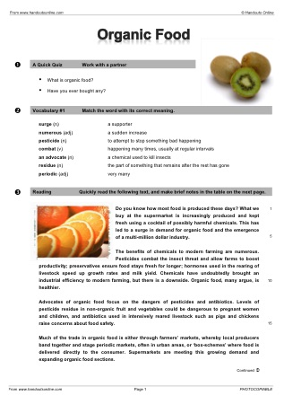 Reading efl esl search worksheet results title organic food forumfinder Choice Image