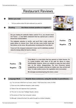 Esl Review Worksheets: efl esl reading worksheets and activities from handouts online,