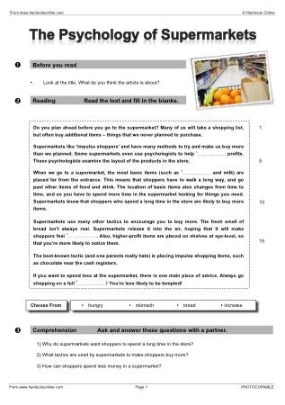 Esl worksheets intermediate reading comprehension