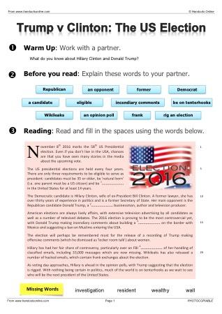 esl political worksheets on us presidential election. Black Bedroom Furniture Sets. Home Design Ideas