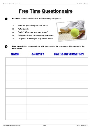 free time activities esl lesson plan