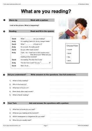 Handouts Online: Present Tense English Worksheets, activities and ...