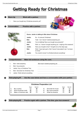 Christmas Efl Esl Worksheets Games Activities And Lesson Plans For Teachers From Handouts Online