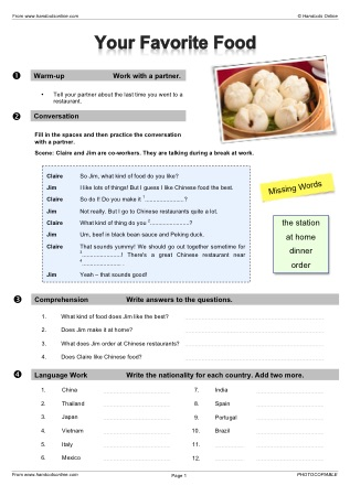 Elementary level efl esl worksheets activities and lesson plans title your favorite food forumfinder Choice Image