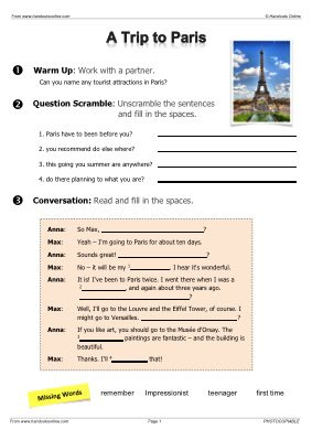 Travel English EFL ESL Worksheets, activities and lesson plans